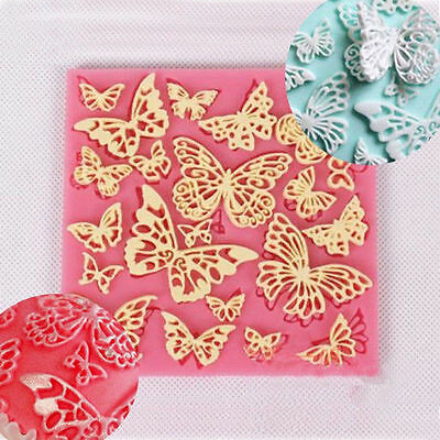 Butterfly Lace Fondant Mould Silicone Cake Decorating Mold Baking Sugarcraft DIY