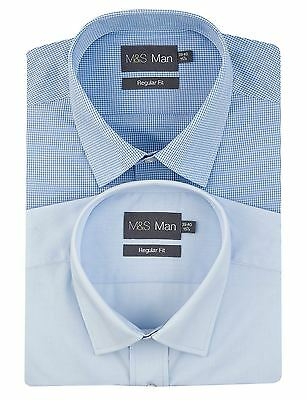 EX Marks And Spencer M&S 2 Pack Easy Care Assorted Shirts