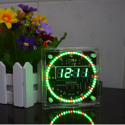 Rotating LED Electronic Temperature DS1302 Display Digital Clock DIY Kits + case
