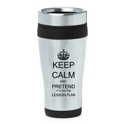 (Black) - 470ml Insulated Stainless Steel Travel Mug Keep Calm and Pretend