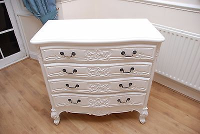 French Style Chateau White Carved Chest of Drawers