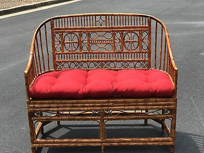 Vintage Bamboo Rattan Settee Love seat Brighton Cane Wicker shipping available!