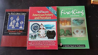 3 Glassware reference books, Pressed Glass, Fire King, Pottery and Porcelain