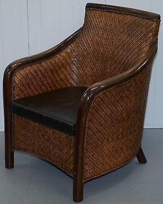 Vintage Caned Rattan With Solid Wood Armchair And Padded Seat Cushion Lovely