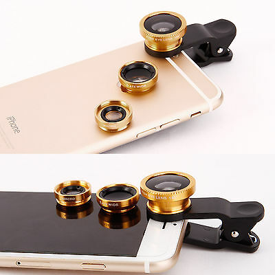 3in1 Gold Clip Camera Lens Kit Fish Eye +Wide Angle+Macro for Cell Phone Tablet