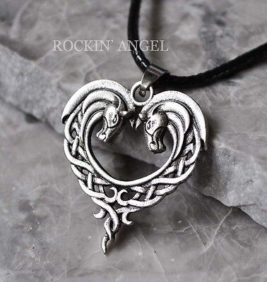 Antique Silver Plt Celtic Knot Horses In a Heart Pendant Necklace Ladies Gift