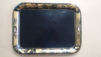 """Large Antique Tole Tray, Hand Painted Black & Gold, 26 1/2"""" x 20"""""""