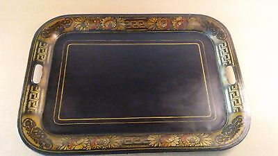 """Antique Hand Painted Tole Tray, Black w/ Floral Design, 22"""" x 16"""""""