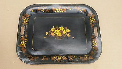 """Antique Hand Painted Tole Tray, Black w/ Gold Floral Design, 18"""" x 14"""""""