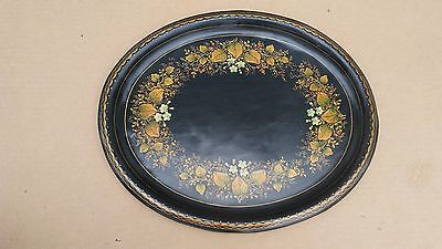 Antique Hand Painted Toll Tray, Black w/ Gold Floral & Grape Vine Design
