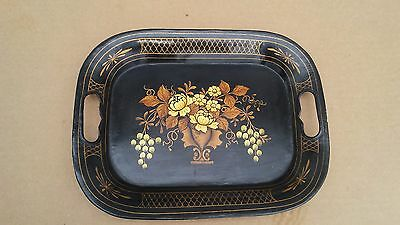 """Antique Hand Painted Toll Tray, Floral Design, 12"""" x 9 1/2"""""""