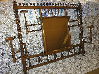 Antique hall tree Hat coat rack mirror stick  ball late 1900's  refinished