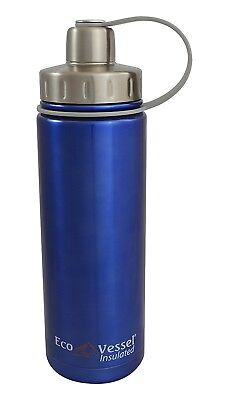 (20-Ounce/600ml, Blue) - EcoVessel BOULDER Vacuum Insulated Stainless Steel