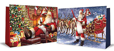 "Set Of 2 Super Jumbo Landscape Christmas Gift Bags 18x27"" Santa Workshop Train"