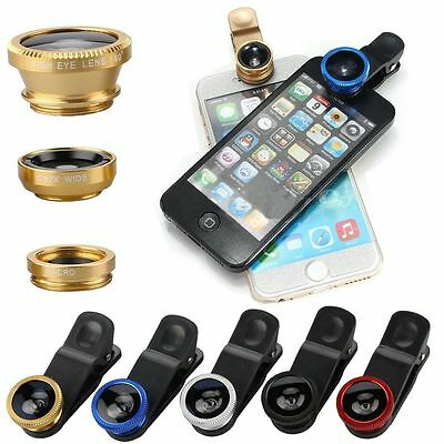 Universal 3in1 Lens For iPhone Samsung &Tab FishEye Wide Angle Macro Camera Clip
