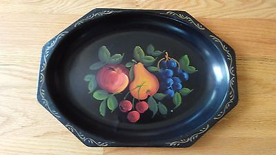 """Vintage E.T. Nash Co. TOLE TOLEWARE Metal Serving Tray HAND PAINTED 14.5""""x10.5"""""""