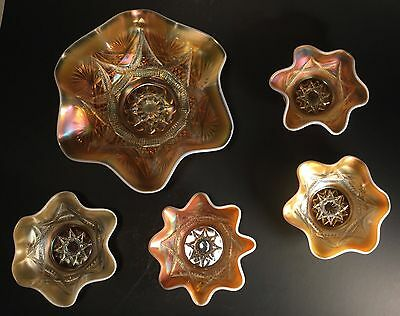 Vintage Dugan-SKI STAR peach opalescent carnival glass Berry Bowl Compass LOT