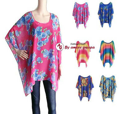 Beach Top Resort Poncho Cover-up Casual kaftan Loose Batwing Boho One size Sheer