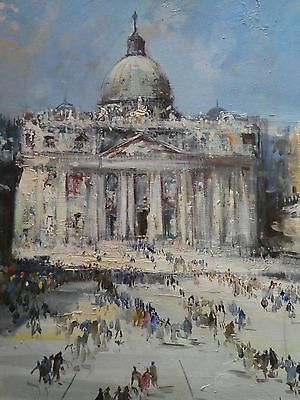 Impressionist 20th Century Oil Painting of St Peter's Basilica, Rome, Italy.