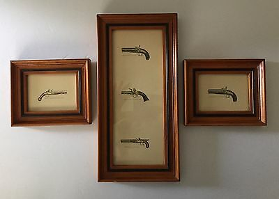 Vintage Set Of 3 Wood Framed Prints Of Antique Guns