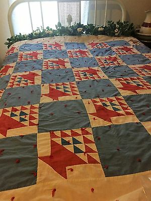 Antique/vintage Old Time Country Quilt - Red, White, Blue - Some Wear And Repair
