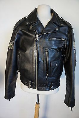 Avirex Miss .45 New York pin up Percy Waters tattooing leather moto jacket men L