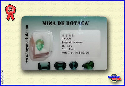 SMERALDO COLOMBIA CERTIFICATO In Blister EMERALD Certfied Taglio PEAR Kt 1,60