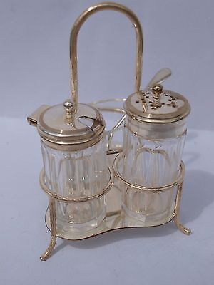 Condiment Set In Stand. E.p.n.s. Salt,pepper/mustard  With Spoon