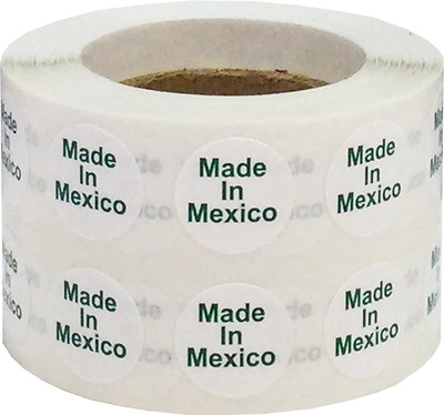 White with Green Made in Mexico Circle Stickers, 1/2 Inch Round, 1000 Labels