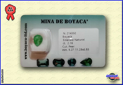 SMERALDO COLOMBIA CERTIFICATO In Blister EMERALD Certfied Taglio PEAR Kt 2,16