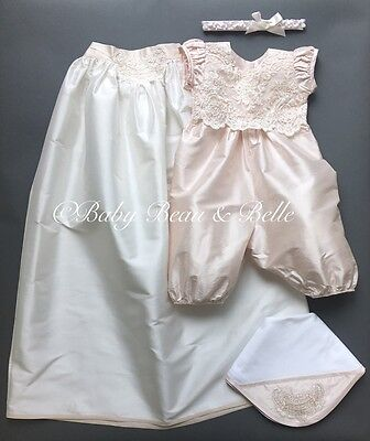 Baby Beau and Belle Tessa girls christening and baptism jumpsuit silk gown set