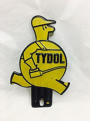 VTG Yellow Tydol Oil Can Man Tag Topper License Plate Attachment Metal Sign