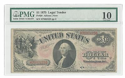$1 1875 Legal Tender Note graded PMG 10 Very Good  United States Note