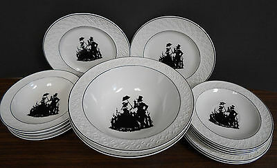 Set of 14 Silhouette Victorian Couple plates/bowls- W.S.GEORGE-GEOMETRIC pattern