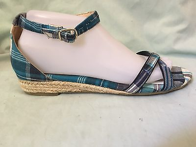 Talbots Blue Plaid Fabric Ankle Strap Sandals In Size 8.5 M-LN