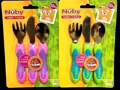 Nuby Stainless Steel Cutlery Fork Knife Spoon Child Kids Toddler Training Set