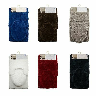 Mary Shaggy 3 pc Bathroom Rug Set, Non-slip Back, Elegant Plush Absorbent Mat