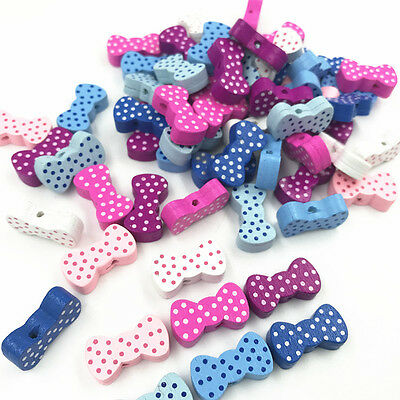 Random Mixed Bowknot Shape Wooden Beads Jewelry Accessories Baby Handmade Crafts