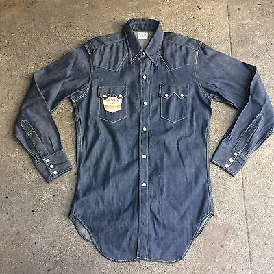 Vintage NWT 1950s Levis Sawtooth Denim Western Snap Shirt LVC Big E Made In USA