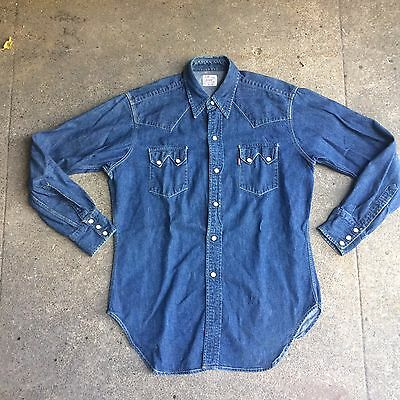 Vintage 1950s Levis Sawtooth Denim Western Snap Shirt LVC Big E Made In USA L
