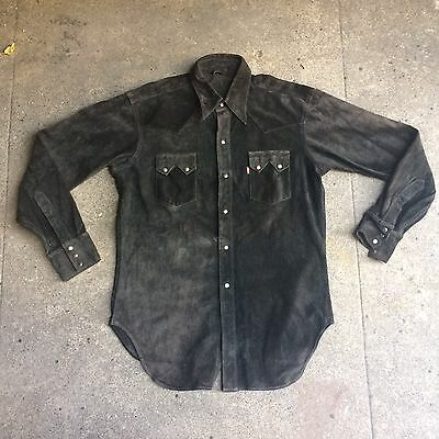 Vintage SAMPLE Levis Leather Jacket Sawtooth Black Cowhide LVC Shirt RARE Large