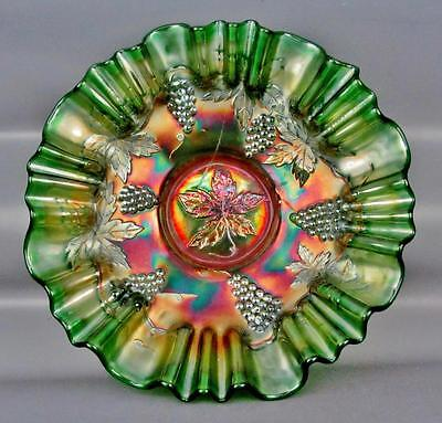 CARNIVAL GLASS - FENTON VINTAGE / WIDE PANEL Green 3-IN-1 Edge Bowl 3251