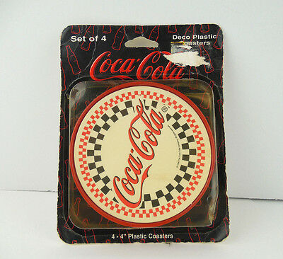 Coca-cola Art Deco Coasters Pack of 4 4 Inch Plastic Made in USA Coke Vintage
