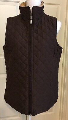 Ladies Jane Ashley size M, Brown quilted zip up vest.