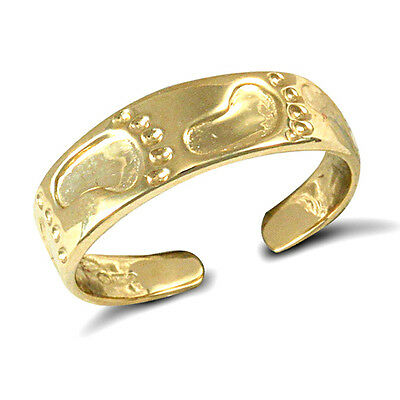 New Hallmarked Ladies Solid 9ct Yellow Gold Foot Prints Flat 4.5mm Band Toe Ring