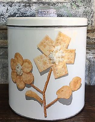 Vintage Mid-Century BLUE MAGIC KRISPY KAN Metal Snack Canister Container WHITE