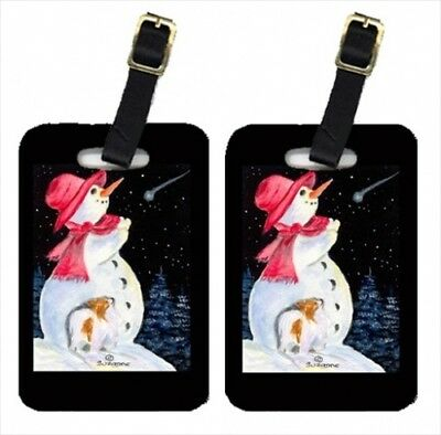 Carolines Treasures SS8793BT Snowman With Papillon Luggage Tag - Pair 2 10cm x