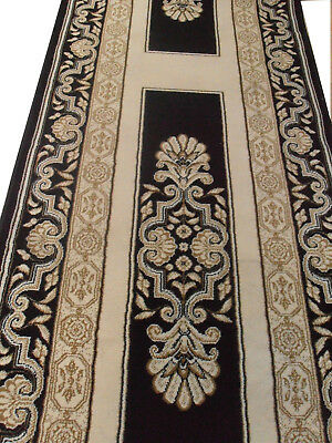 New Hall Carpet HALLWAY RUNNER 67cm wide Rug Black Cream BORDER CHARISMA Vintage