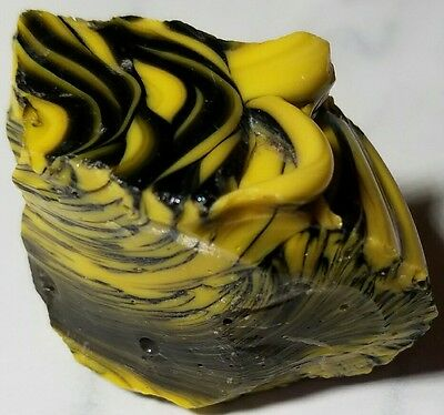 ♢WILD♢ UNIQUE BUMBLE BEE SWIRL Old Akro Agate Marble Cullet Rock RARE 2.2 OZ