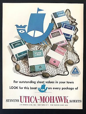1953 Vintage Print Ad UTICA MOHAWK SHEETS Sailboat Art